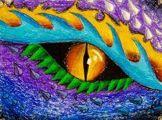 Dragon Eye Drawing, Yoda Drawing, Dragon Oil, Lizard Eye, Colorful Lizards, Mythical Dragons, 5th Grade Art, Middle School Art, Mythological Creatures