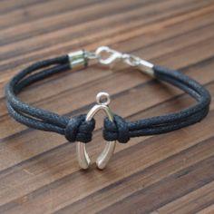 Silver Wishbone Single Bracelet wholesale--Quality Black Wax cord Leather--Best Gift Jewelry for friendship | Handmade Men Bracelets, Handmade Bracelet, DIY Bracelets,Craft Supplies Wholesale by handmade bracelet, monogram necklace, initial necklace