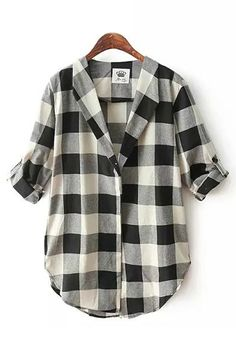 Black & White Grids Lapel Long Sleeves Blouse