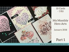 (146) 10 Cards - 1 Kit | Hero Arts Monthly Card Kit | January 2018 | Part 1 - YouTube