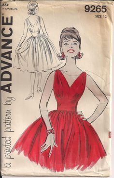 50s Cocktail Dress Pattern Low Cut Front and Back by HoneymoonBus