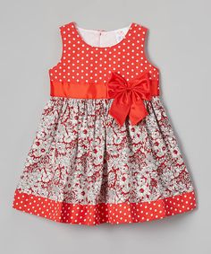 Look what I found on #zulily! Red Floral Fit & Flare Dress - Toddler & Girls #zulilyfinds