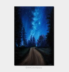 Forest Painting Summer Art Milky Way painting  by ArtColorSpace