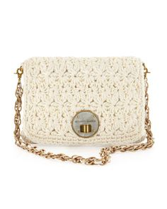Lucca Crochet Shoulder Bag, Pearl by Elliott Lucca at Last Call by Neiman Marcus.