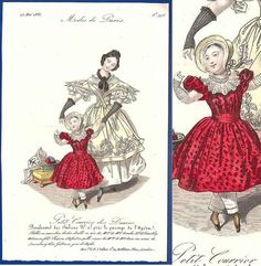 1833 antique girl's red dress fashion print dancing knitting sewing interest apron