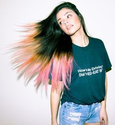 Dip Dye hair. Okay, this is awesome looking. Never would I be able to do this to my own hair, but it looks cool.