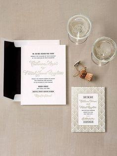 Bella Figura gold foil art deco wedding invitation suite