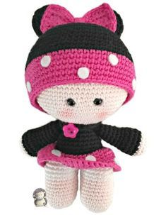 Hyperactive MOTHERS: crafts and DIY with and for children: Minnie Muñequita YoYo Amigurumi, Pattern Free Free Crochet Bag, Cute Crochet, Crochet For Kids, Crochet Baby, Crochet Patterns Amigurumi, Amigurumi Doll, Crochet Dolls, Baby Dolls, Hello Kitty