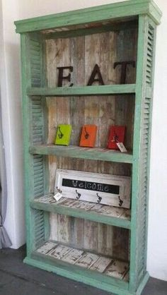 , Check more at shuttersrepurpose. - , Check more at shuttersrepurpose… Best Picture For shutters repurposed kitchen For Your Taste - Repurposed Furniture, Rustic Furniture, Painted Furniture, Diy Furniture, Diy Shutters, Wooden Shutters, Green Shutters, Shutter Shelf, Furniture Making