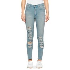 Cheap Monday Women's 'Second Skin' High Waisted Skinny Jeans ($38) ❤ liked on Polyvore featuring jeans, pants, blue, blue jeans, ripped jeans, stretch skinny jeans, stretch jeans and high waisted distressed jeans