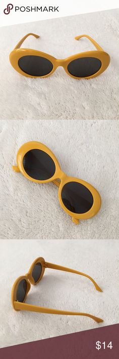 Retro inspired sunglasses 90's cobain style gold Retro inspired sunglasses, 90's Kurt Cobain style oval frames. In gold yellow 🏁🔥 Brand NEW. UV protective. Perfect for all your vintage looks! Similar to the acne studios sunglasses. #depop #retrosunglasses #y2k #90s #punk #goth #grunge #depopfamous #rave #clubkid #2000s #00s #festival #sunglasses #nirvana #cobainsunglasses Accessories Sunglasses