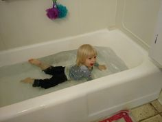 My daughter really didn't want to wait for her bath yesterday...