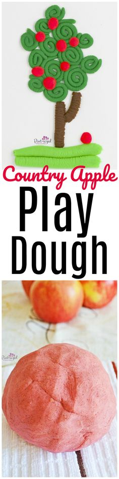 Country Apple Play Dough that's simple to make and kids love! Perfect play dough recipe for fall! Enjoy this apple scented play dough!