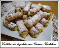 Cañitas de Hojaldre con Crema Pastelera