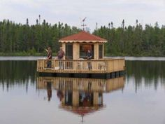 "The floating gazebo that was featured on ""On the Road with Jason Davis"" Floating Dock, Floating House, Boat Building, Building A House, Gazebos, Lake Dock, Float Your Boat, Diy Boat, Relax"