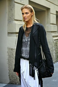 Anja Rubik after Gucci, Milano, September 2013