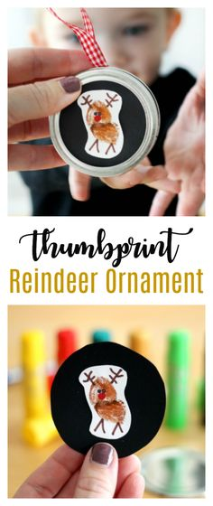 Thumbprint Reindeer Ornament for Toddlers and Preschoolers Capture your child& darling little thumbprint in this cute and easy reindeer ornament! A quick, low-mess, activity for toddlers and preschoolers. Easy Toddler Crafts, Fun Easy Crafts, Holiday Crafts For Kids, Preschool Christmas, Toddler Christmas, Christmas Activities, Xmas Crafts, Toddler Preschool, Preschool Crafts