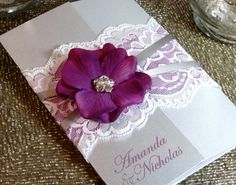 SUMMER: Vintage Lace Wedding Invitation, Purple and Silver Wedding Invitation, Pocketfold Invitation, Satin Ribbon and Silk Flower Invite Pocketfold Invitations, Quince Invitations, Silver Wedding Invitations, Wedding Cards, Wedding Favors, Wedding Bouquets, Our Wedding, Wedding Flowers, Dream Wedding