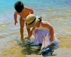 Children paintings by Vladimir Volegov photos) - Xaxor Illustrations, Illustration Art, Vladimir Volegov, Famous Art Pieces, Ecole Art, Russian Art, Beach Scenes, Portraits, Beach Art