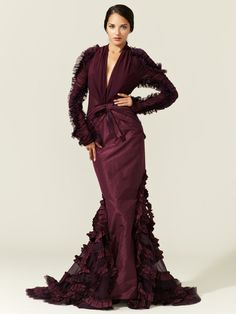 Zac Posen Silk Paper Weight Taffeta Ruffle Gown, perfect with Hijab to a mixed wedding!