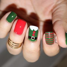 """""""Apparently the elf was a little drunk on eggnog buttons are not lined up! Colors used are Midnight, white chocolate, vacation and wrap…"""" Cute Christmas Nails, Xmas Nails, Christmas Nail Designs, Holiday Nails, Great Nails, Cute Nail Art, Simple Nails, Cute Nails, Simple Nail Art Designs"""