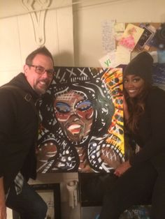 Me and the amazing Patina Miller in her dressing room backstage at Pippin! Yes, that is the painting I did of her between us. www.gdmartist.com