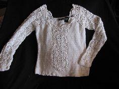 Moda International White Crocheted Long Sleeve Top Medium #ModaInternational #KnitTop #Casual
