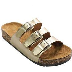 Women's Buckle Triple Straps Platform Footbed TRENDS SNJ Sandals