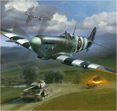 Supermarine Spitfire LF Mk IX, Cpt. Aleksander Klemens Gabszewicz, 316 (Polish) Sqn. RAF, Normandie, june 1944. Art by Arkadiusz Wróbel