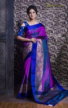 Pure Katan Silk Banarasi Saree in Purple and Blue