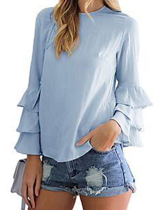 Feminino Camisa Social Casual SimplesSólido Azul Poliéster Decote Redondo Manga Longa