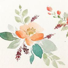 Boho / vintage inspired florals in watercolor Watercolor Projects, Watercolor Cards, Watercolor Print, Watercolor Illustration, Watercolor Flowers, Watercolor Paintings, Floral Illustrations, Painting & Drawing, Flower Art