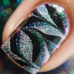 Base is @ilnpbrand Supernova #watermarble is Finger Paints Black Expressionism with @ilnpbrand Mega(S) and @opi_products Nail Envy  Tutorial will be up tomorrow!