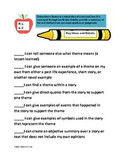 """Common Core 6th grade Reading Standards(""""unpacked"""", I can,"""