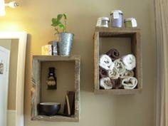 Reclaimed wood shelves for bathroom
