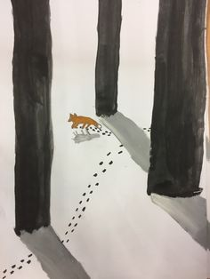 Art For Kids, Painting, Big, Brown, Watercolor Painting, Fox, Winter Drawings, Fox Painting, Fox Drawing