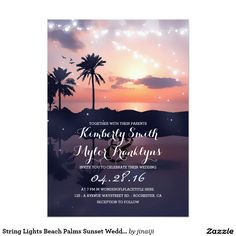 String Lights Beach Palms Sunset Wedding