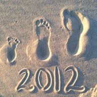 Family beach footprints with the year.  Great way to remember a vacation...must to do this at the beach this year!