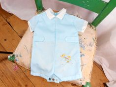 70s Vintage Baby Clothes Baby Boys Romper One Piece by ZasuVintage