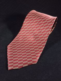 "PERRY ELLIS PORTFOLIO Mens Tie Red and White Checks Microdots Silk 58"" x 3.75"""