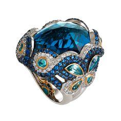 Zorab, Fantaisie collection, Divine Azure Sapphire Ring Graceful, blue sapphire, blue topaz, blue zircon, white diamonds, gold, and palladium