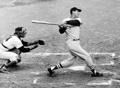 Ted Williams hits in 1941 for the Boston Red Sox. Red Sox Baseball, Sports Baseball, Baseball Players, Basketball Hoop, Baseball Classic, Basketball Tickets, Sports Pics, Baseball Stuff, Baseball Cards
