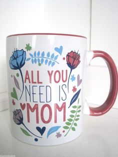 Jumbo ALL You Need Is Mom Coffee Cup Christmas Mug Holiday Gift Hearts Flowers