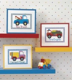Decorate your favorite construction-lover's room with this fire engine, cement mixer, tow trucks cross stitch craft.