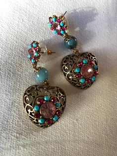 Material Girl Bling Open Work Goldtone Hearts Dangle & Drop Earrings with pretty Pink Rhinestones and baby blue beads