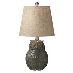 Owl Reactive Glaze Table Lamp