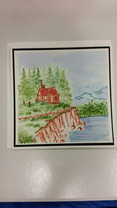 """""""Quiet Cabin"""" card created by Letty Lucero using various Art Impressions Watercolor Stamps."""