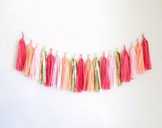 Tassel Garland, Pink Peach Coral Tassel Garland, Summer Birthday Party - Flamingo