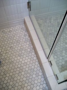 hex tiles: example of same size in shower and floor