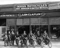 Indian Motorcycle Shop 1916 Vintage 8x10 Reprint Of Old Photo